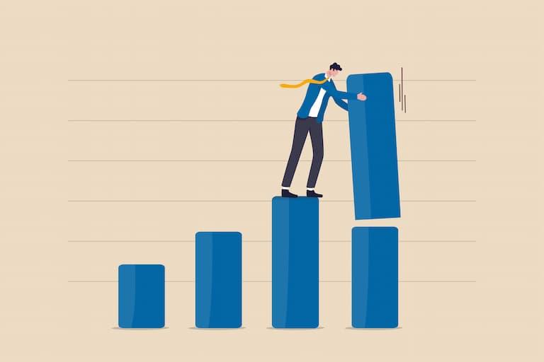 業績悪化予想を示すグラフ