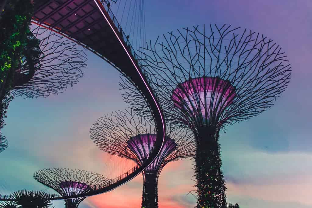 シンガポールのガーデンズ・バイ・ザ・ベイの夕焼け