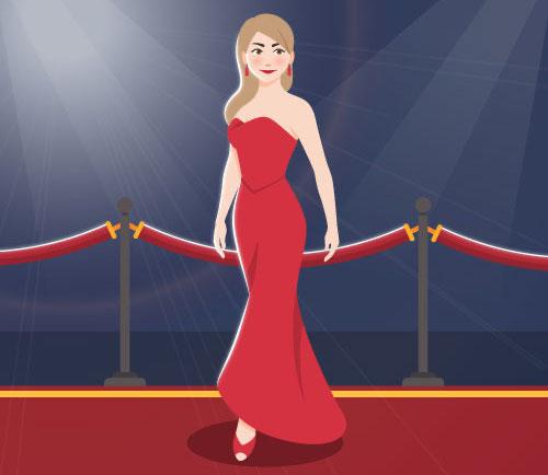 レッドカーペットを歩く女優