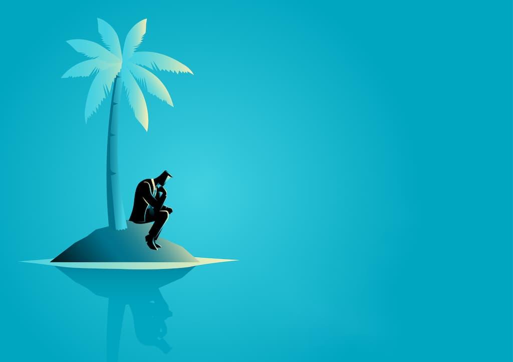 孤島で佇むサラリーマン